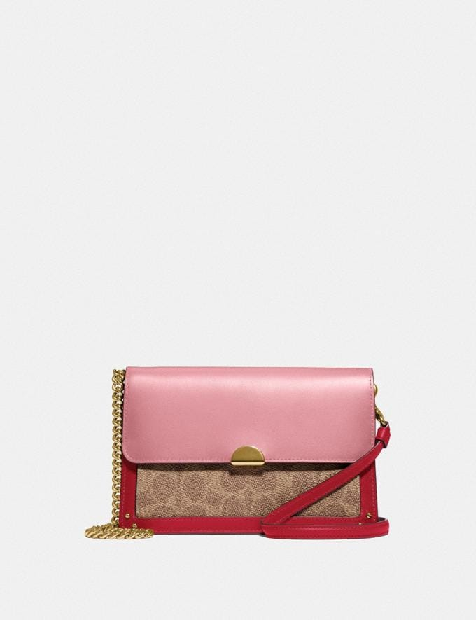 Coach Dreamer Convertible Crossbody in Colorblock Signature Canvas Tan Red Apple/Gold Women Small Leather Goods Crossbody Wallets