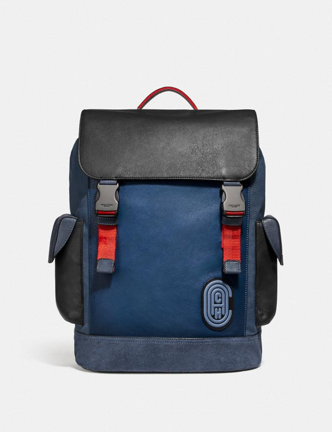 Coach Rivington Backpack in Colorblock With Coach Patch Black Copper/True Blue Multi Men Bags Backpacks
