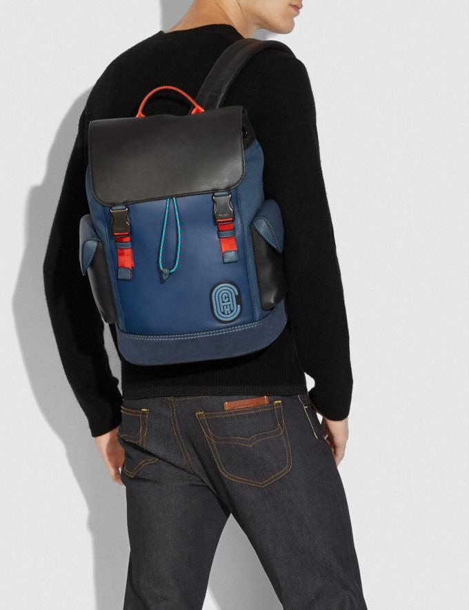 Coach Rivington Backpack in Colorblock With Coach Patch Black Copper/True Blue Multi New Men's New Arrivals Bags Alternate View 3
