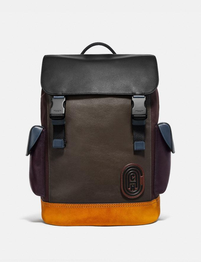 Coach Rivington Backpack in Colorblock With Coach Patch Moss Multi/Black Copper Men Bags Backpacks