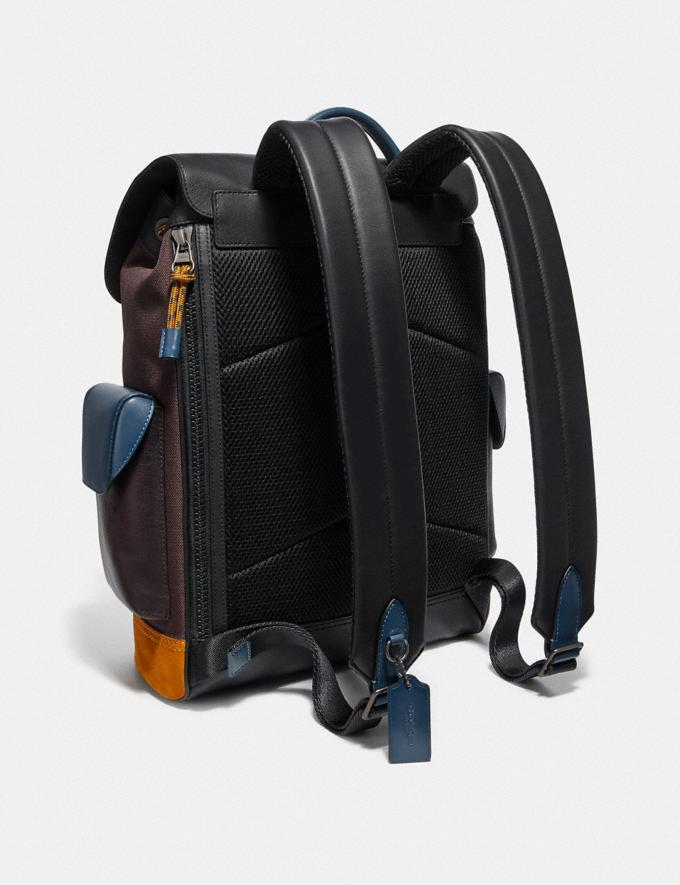 Coach Rivington Backpack in Colorblock With Coach Patch Moss Multi/Black Copper Men Alternate View 1