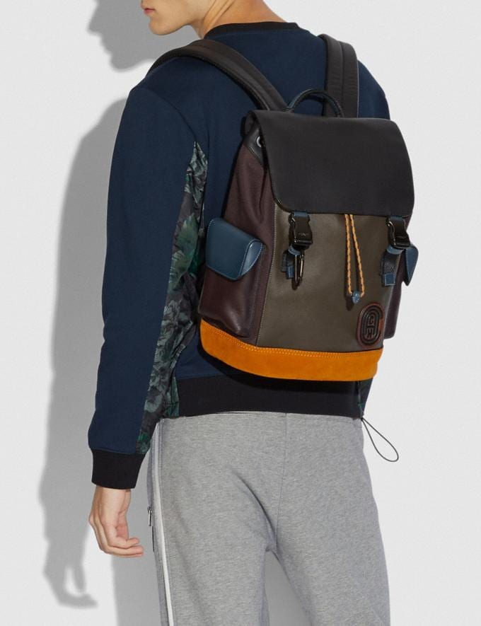 Coach Rivington Backpack in Colorblock With Coach Patch Moss Multi/Black Copper Men Bags Backpacks Alternate View 3