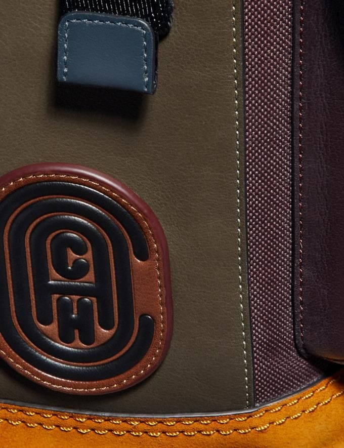 Coach Rivington Backpack in Colorblock With Coach Patch Moss Multi/Black Copper Men Alternate View 4
