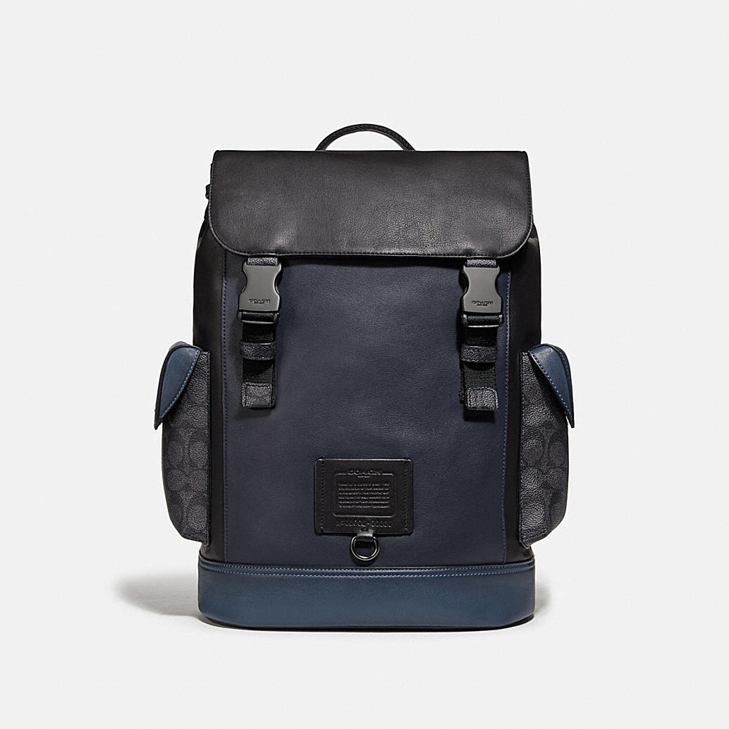Rivington Backpack With Signature Canvas Blocking by Coach