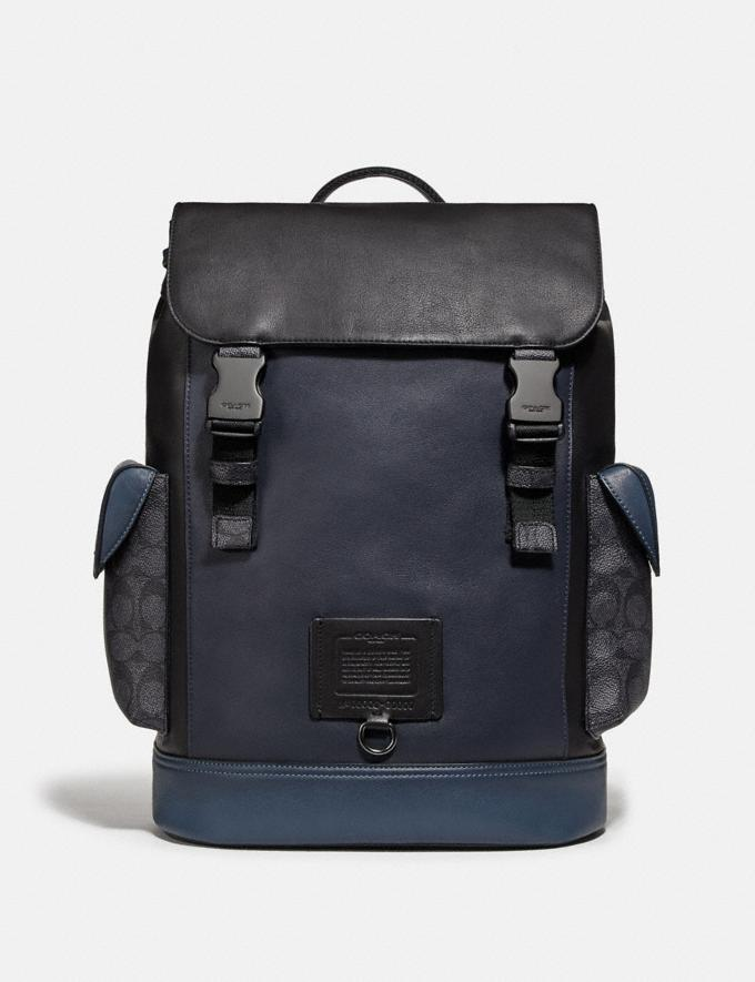 Coach Rivington Backpack With Signature Canvas Blocking Midnight Navy/Charcoal/Black Copper New Men's New Arrivals View All