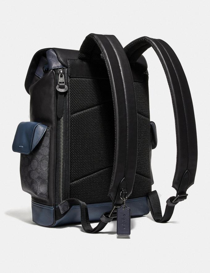 Coach Rivington Backpack With Signature Canvas Blocking Midnight Navy/Charcoal/Black Copper New Men's New Arrivals View All Alternate View 1