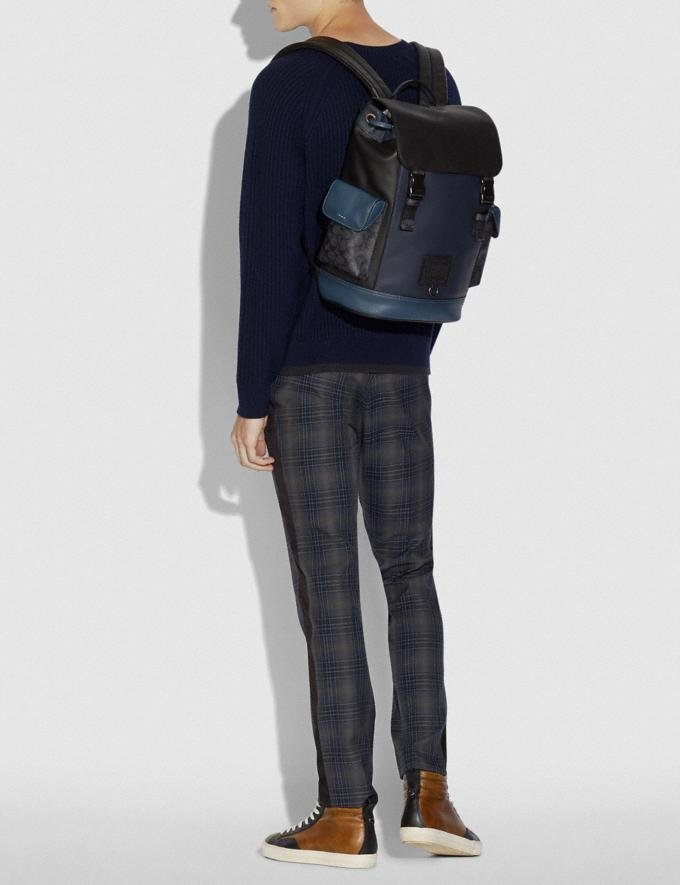 Coach Rivington Backpack With Signature Canvas Blocking Midnight Navy/Charcoal/Black Copper New Men's New Arrivals View All Alternate View 3