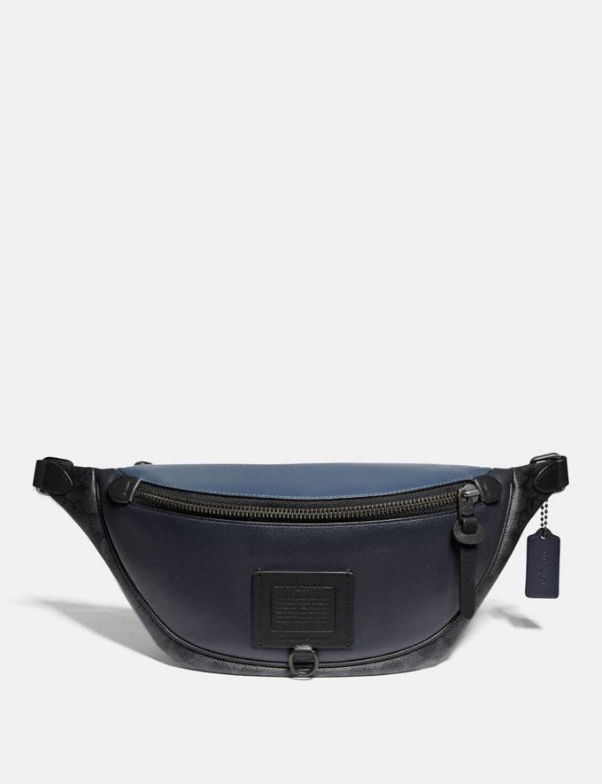 Coach Rivington Belt Bag With Signature Canvas Blocking Midnight Navy/Charcoal/Black Copper Men Bags Belt Bags
