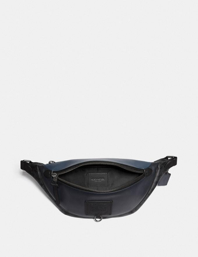 Coach Rivington Belt Bag With Signature Canvas Blocking Midnight Navy/Charcoal/Black Copper New Men's New Arrivals Bags Alternate View 2