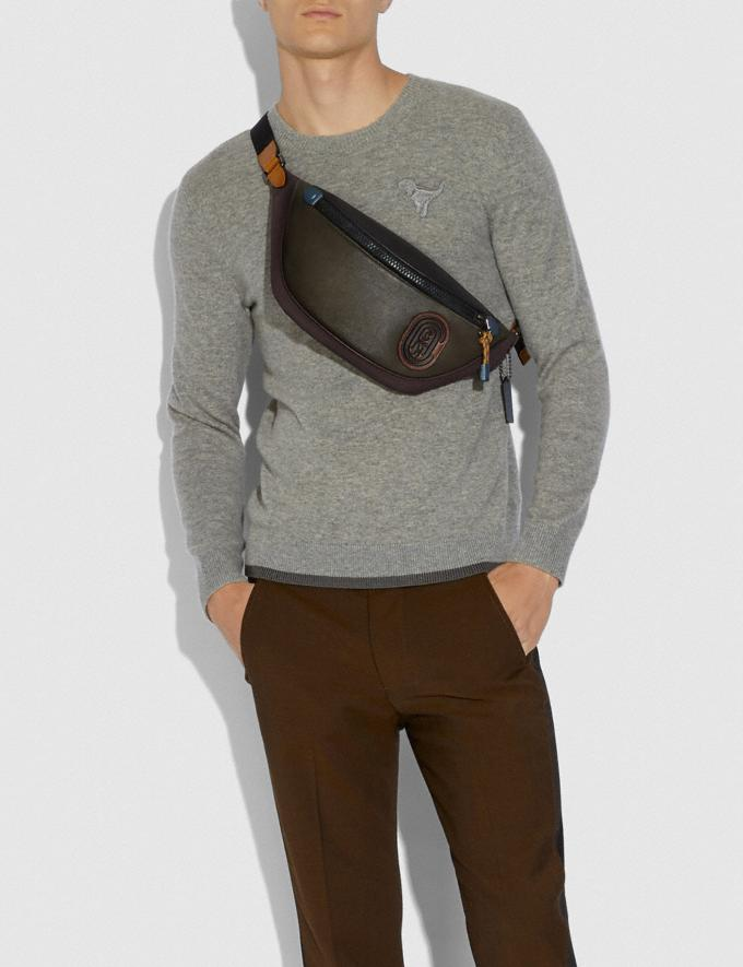 Coach Rivington Belt Bag in Colorblock With Coach Patch Moss Multi/Black Copper New Men's New Arrivals Alternate View 3