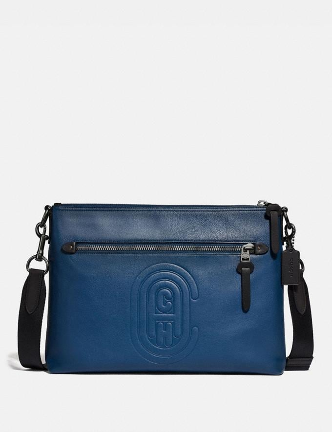 Coach Rivington Messenger With Coach Patch True Blue/Black Copper Cyber Monday Men's Cyber Monday Sale Bags