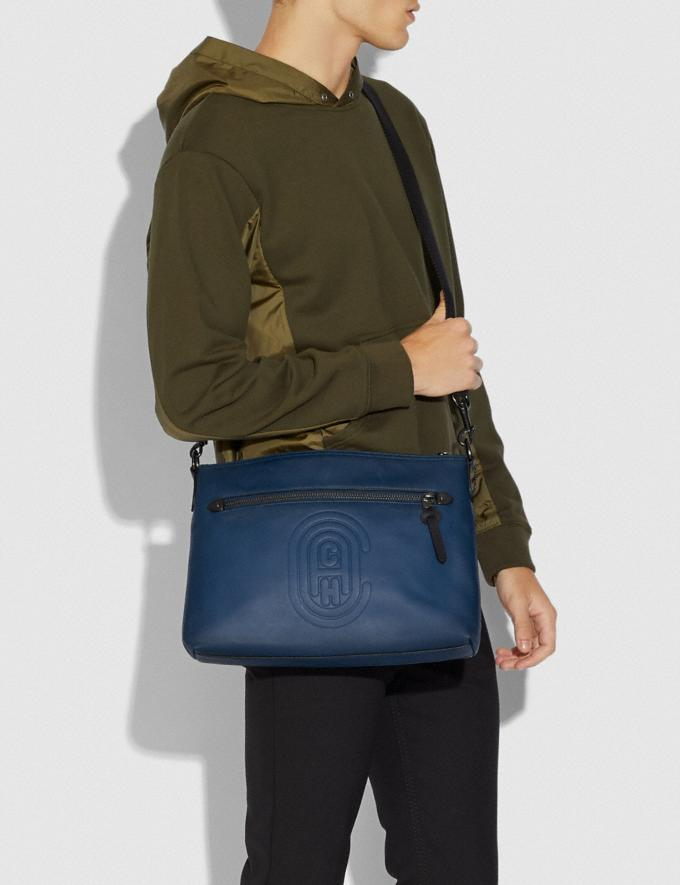Coach Rivington Messenger With Coach Patch True Blue/Black Copper Cyber Monday Men's Cyber Monday Sale Bags Alternate View 3