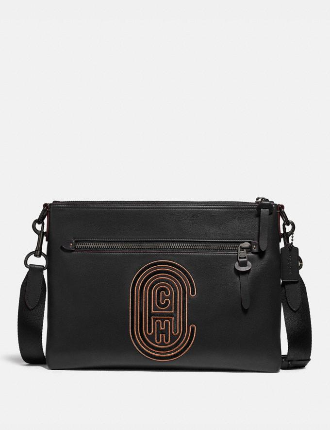 Coach Rivington Messenger With Coach Patch Black/Black Copper Black Friday Men's Cyber Monday Sale Bags