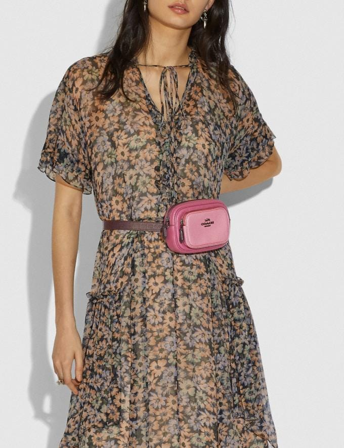 Coach Double Zip Belt Bag in Colorblock Gunmetal/True Pink Multi Women Bags Belt Bags Alternate View 3