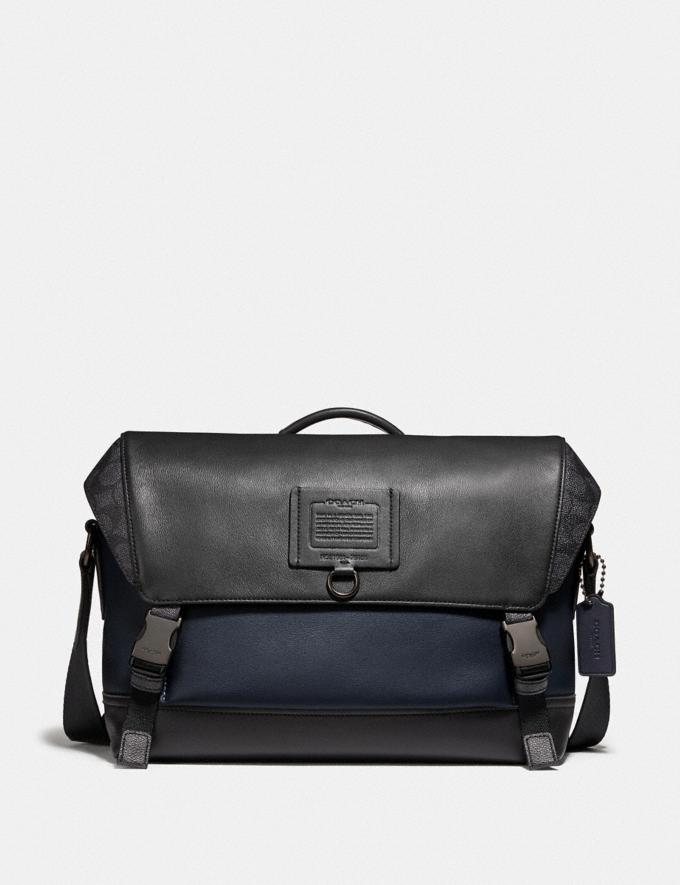 Coach Rivington Bike Bag With Signature Canvas Blocking Black Copper/Midnight Navy/Charcoal Men Edits Work