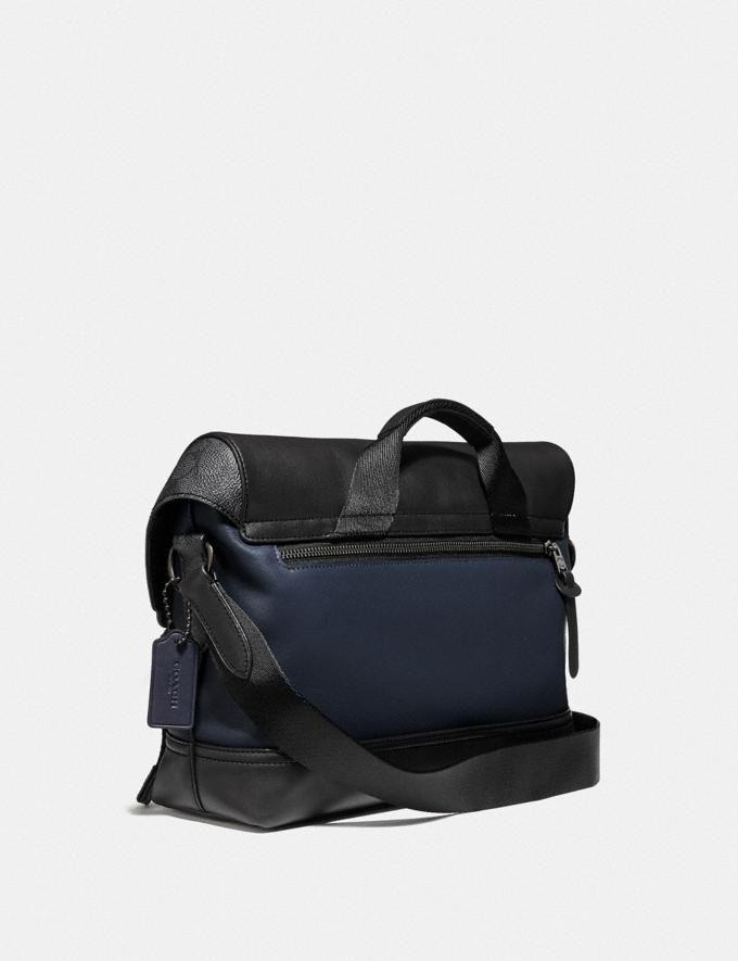 Coach Rivington Bike Bag With Signature Canvas Blocking Black Copper/Midnight Navy/Charcoal Men Edits Work Alternate View 1