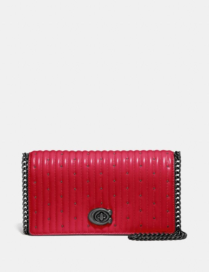 Coach Convertible Belt Bag With Quilting and Rivets Red Apple/Pewter Women Bags Belt Bags