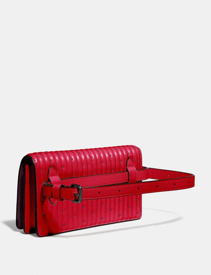 Coach Convertible Belt Bag With Quilting and Rivets Red Apple/Pewter Women Bags Belt Bags Alternate View 1