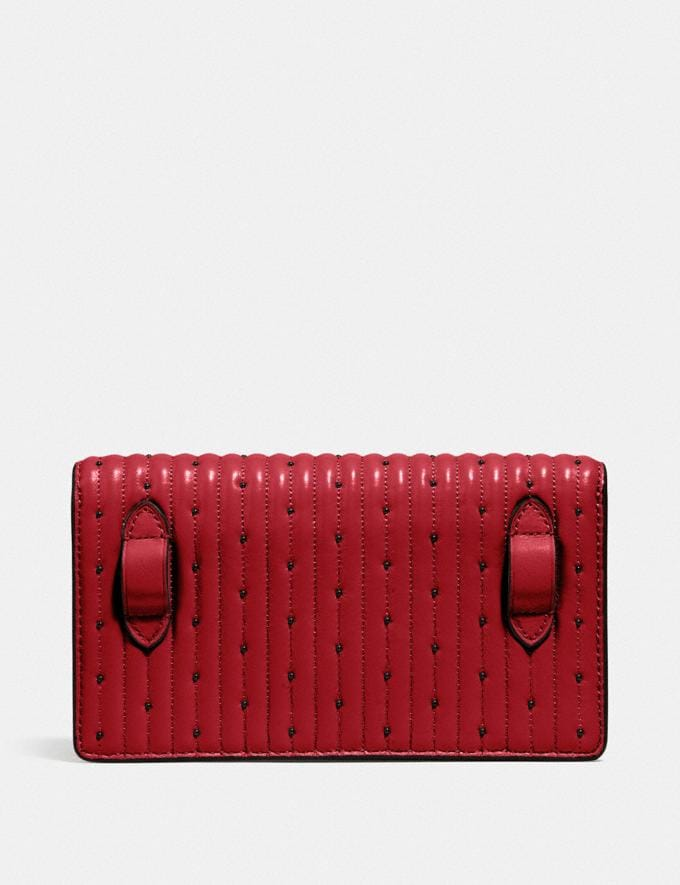 Coach Convertible Belt Bag With Quilting and Rivets Red Apple/Pewter Women Bags Belt Bags Alternate View 2
