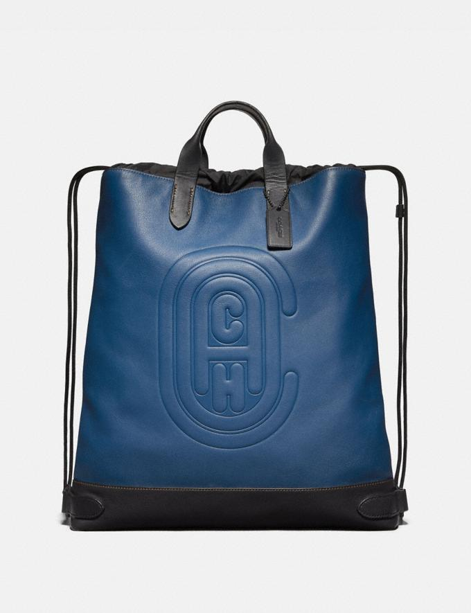 Coach Academy Drawstring Backpack With Coach Patch True Blue/Black Copper New Men's New Arrivals Bags