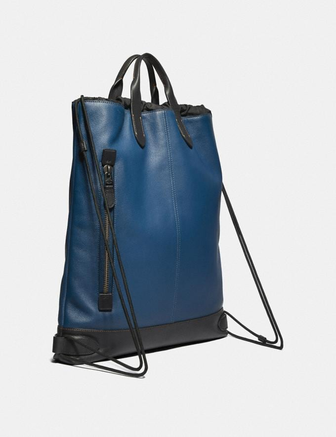 Coach Academy Drawstring Backpack With Coach Patch True Blue/Black Copper  Alternate View 1