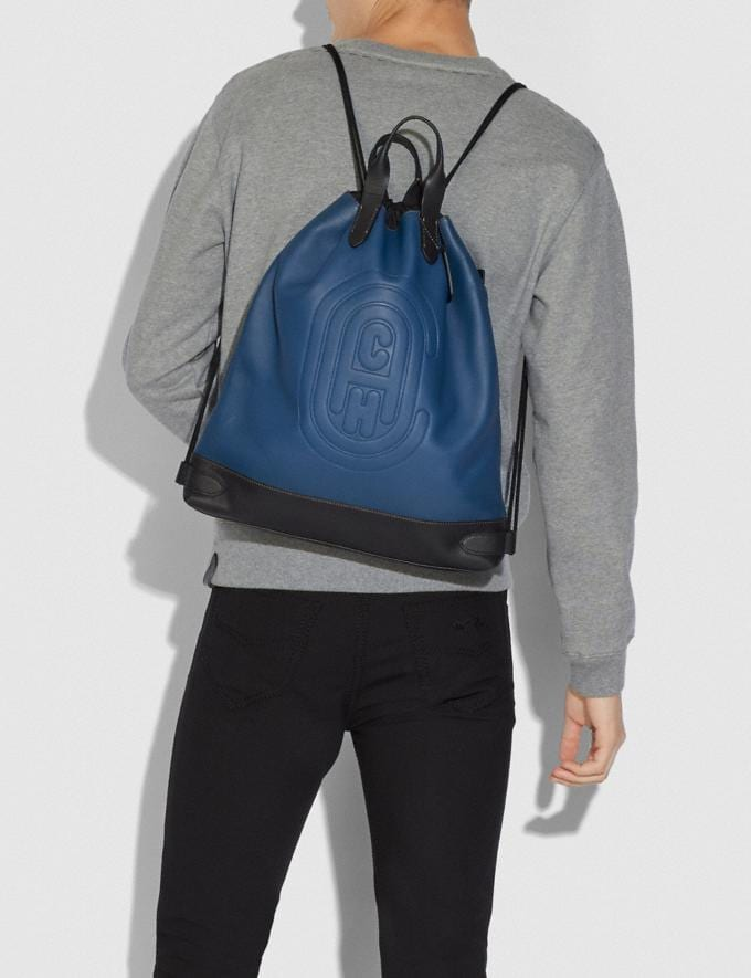 Coach Academy Drawstring Backpack With Coach Patch True Blue/Black Copper  Alternate View 3