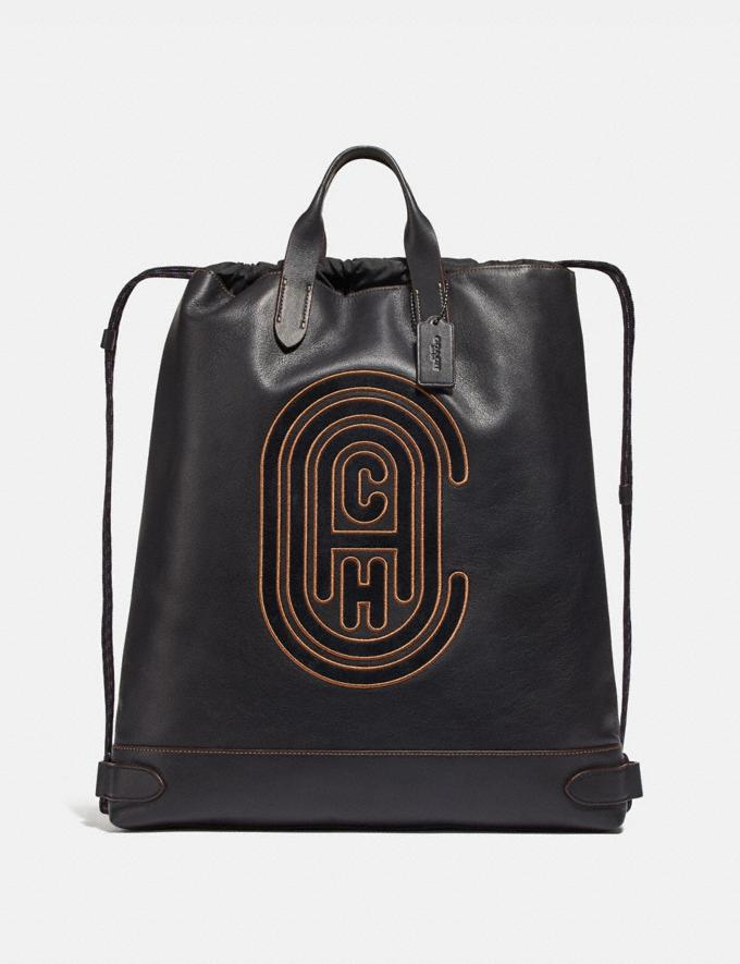 Coach Academy Drawstring Backpack With Coach Patch Black/Black Copper