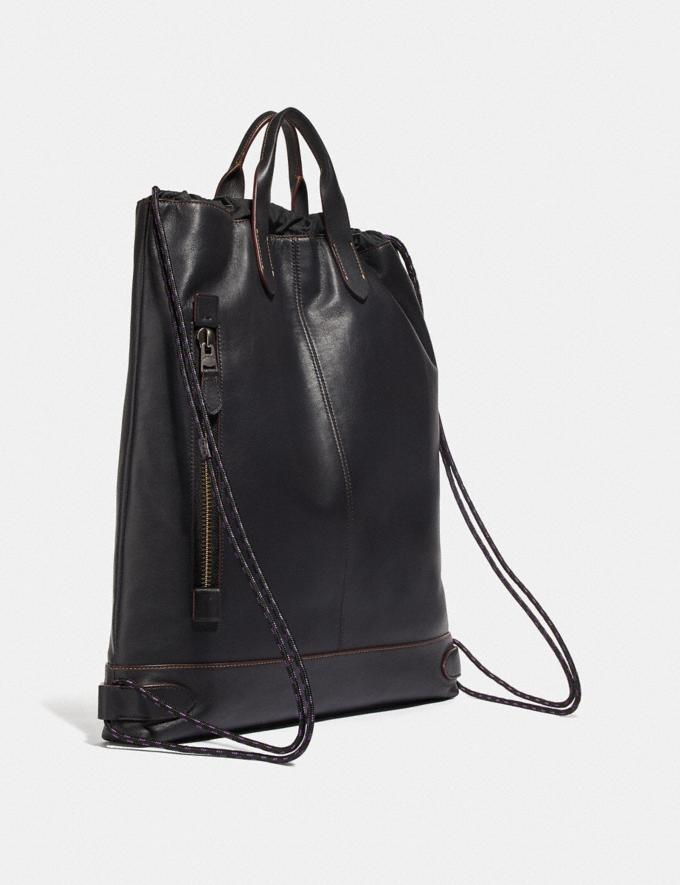 Coach Academy Drawstring Backpack With Coach Patch Black/Black Copper  Alternate View 1