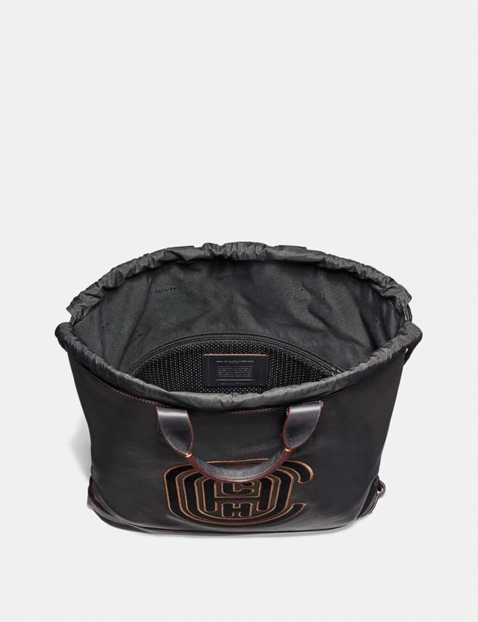 Coach Academy Drawstring Backpack With Coach Patch Black/Black Copper  Alternate View 2