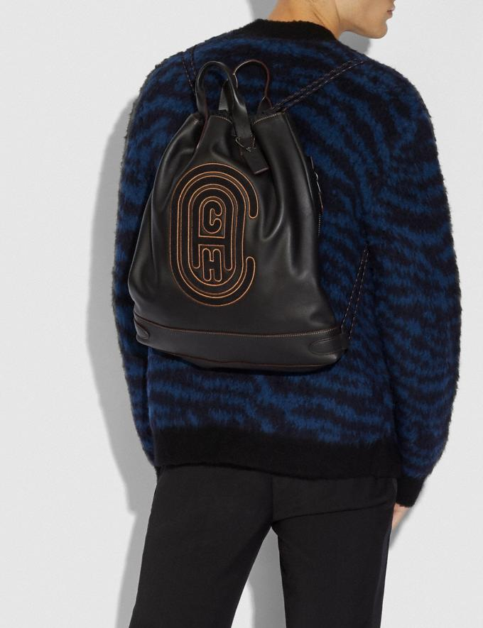 Coach Academy Drawstring Backpack With Coach Patch Black/Black Copper  Alternate View 3