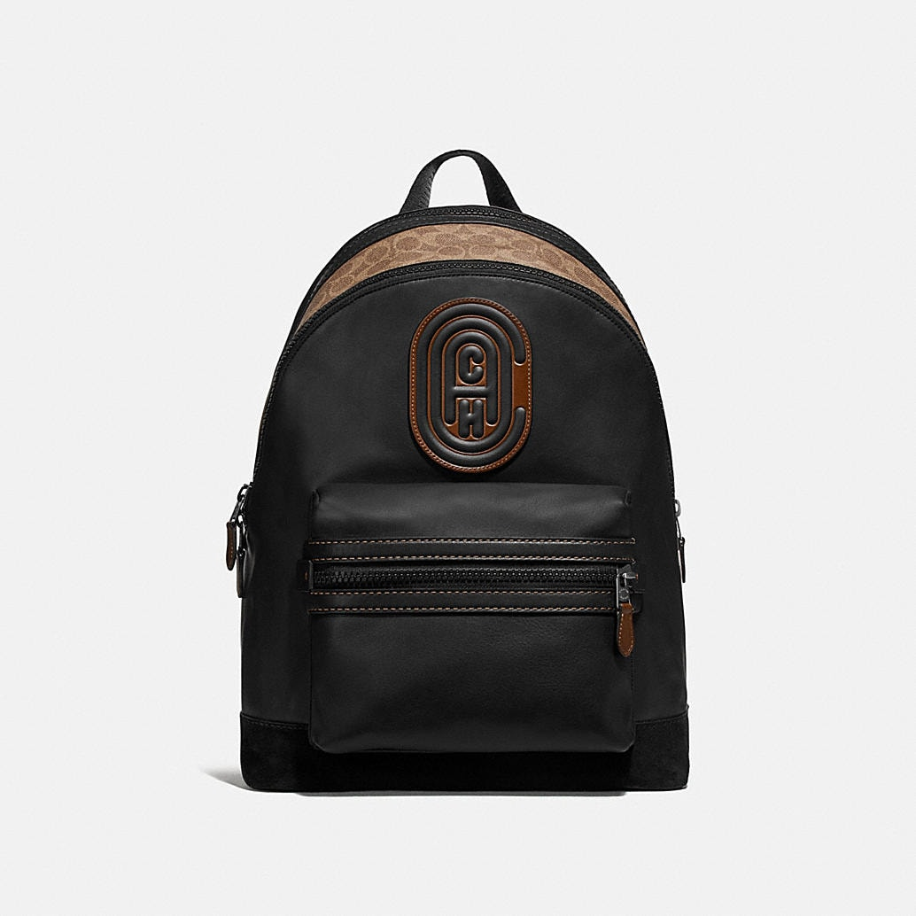 Academy Backpack With Signature Canvas Blocking And Coach Patch by Coach