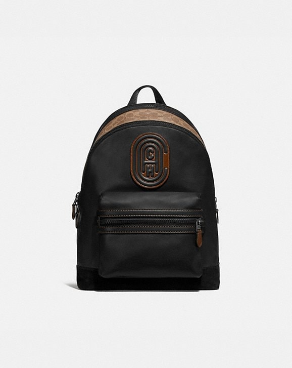Coach ACADEMY BACKPACK WITH SIGNATURE CANVAS BLOCKING AND COACH PATCH