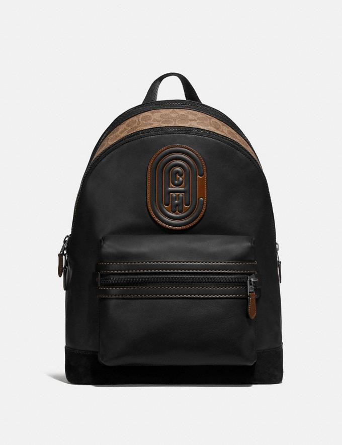 Coach Academy Backpack With Signature Canvas Blocking and Coach Patch Black/Khaki/Black Copper Cyber Monday Men's Cyber Monday Sale Bags