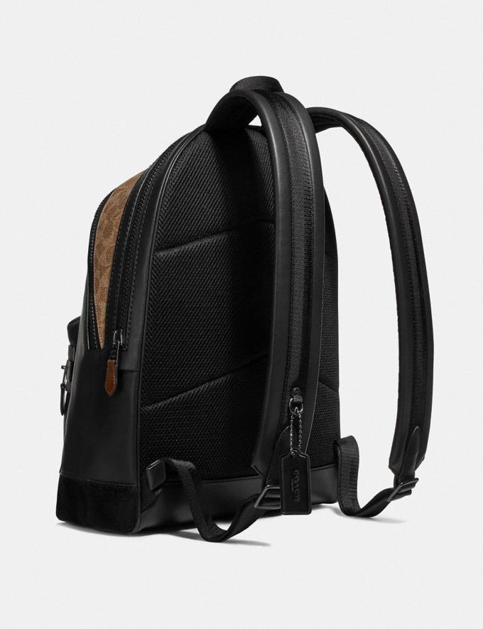 Coach Academy Backpack With Signature Canvas Blocking and Coach Patch Black/Khaki/Black Copper Men Bags Backpacks Alternate View 1