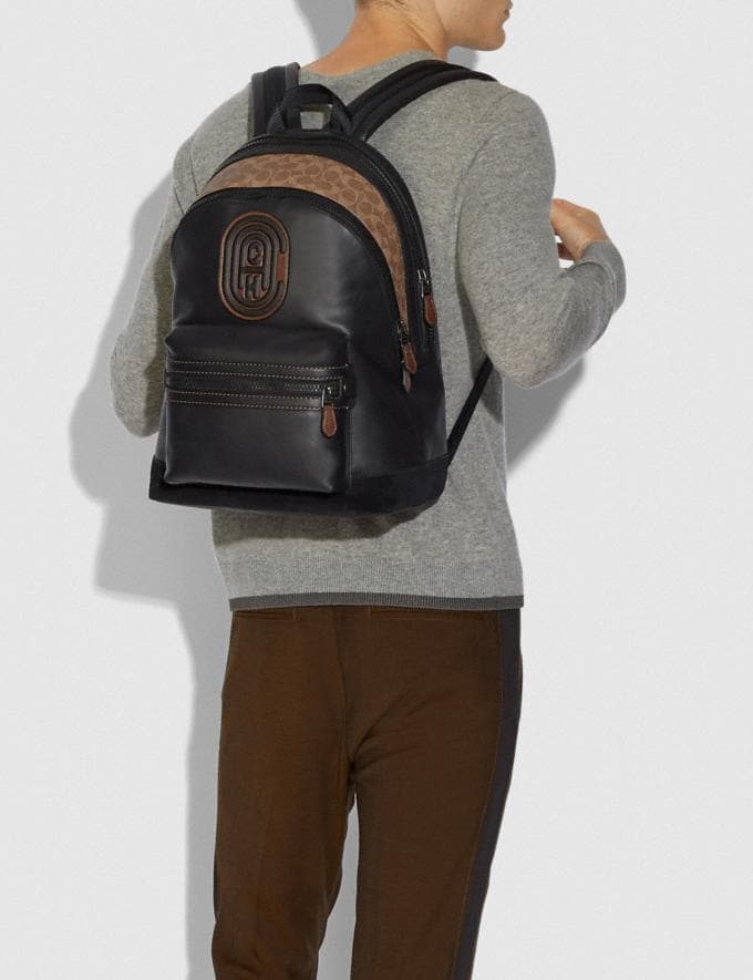 Coach Academy Backpack With Signature Canvas Blocking and Coach Patch Black/Khaki/Black Copper Cyber Monday Men's Cyber Monday Sale Bags Alternate View 3