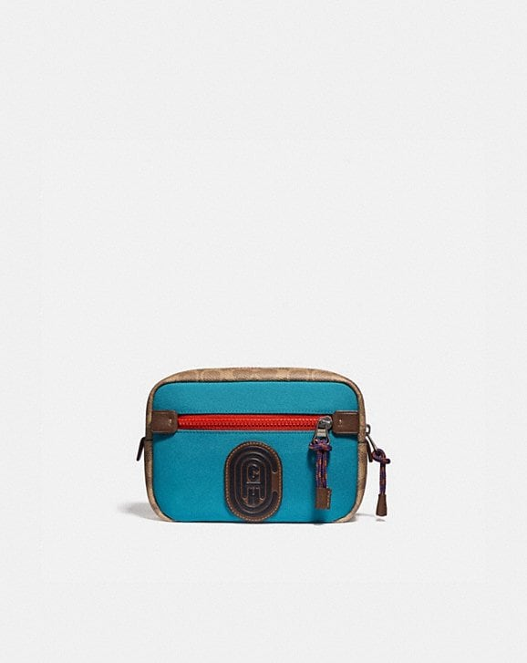 Coach ACADEMY L-PACK WITH SIGNATURE CANVAS BLOCKING AND COACH PATCH