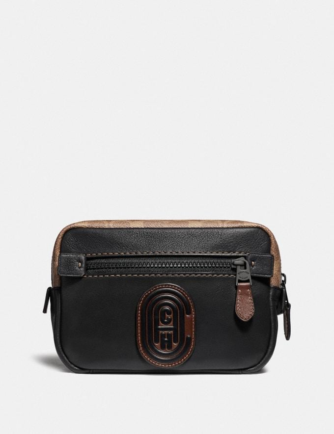 Coach Academy L-Pack With Signature Canvas Blocking and Coach Patch Black/Khaki/Black Copper New Men's New Arrivals Bags