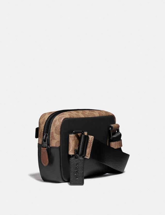 Coach Academy L-Pack With Signature Canvas Blocking and Coach Patch Black/Khaki/Black Copper New Men's New Arrivals Bags Alternate View 1