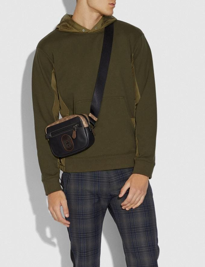 Coach Academy L-Pack With Signature Canvas Blocking and Coach Patch Black/Khaki/Black Copper New Men's New Arrivals Bags Alternate View 3