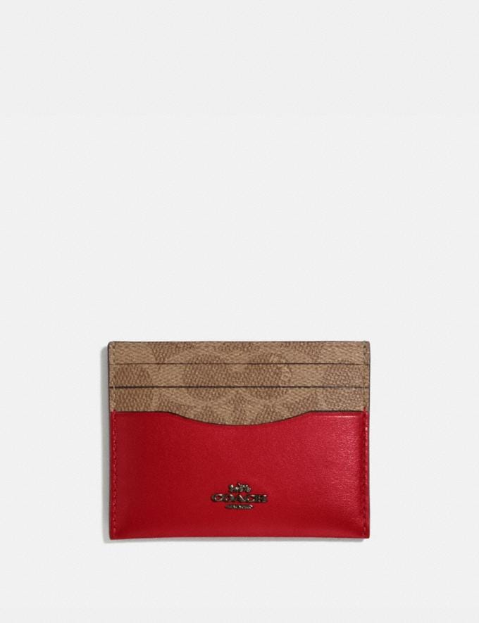 Coach Card Case in Colorblock Signature Canvas Red Women Small Leather Goods Card Cases