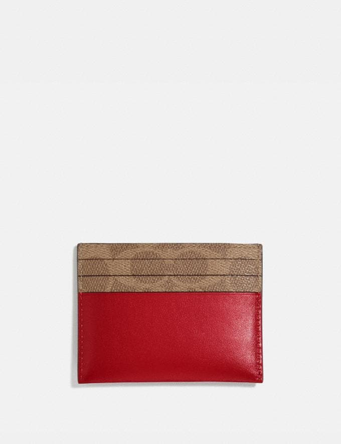 Coach Card Case in Colorblock Signature Canvas Red Women Small Leather Goods Card Cases Alternate View 1