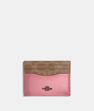CARD CASE IN COLORBLOCK SIGNATURE CANVAS