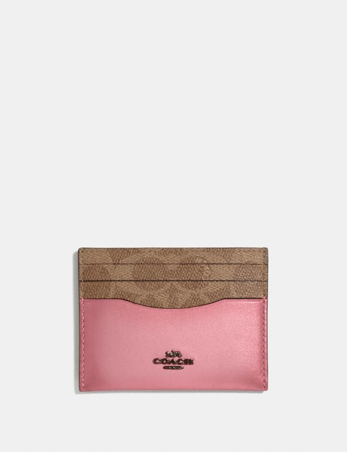 Coach Card Case in Colorblock Signature Canvas Pewter/Tan True Pink Women Wallets & Wristlets Card Cases