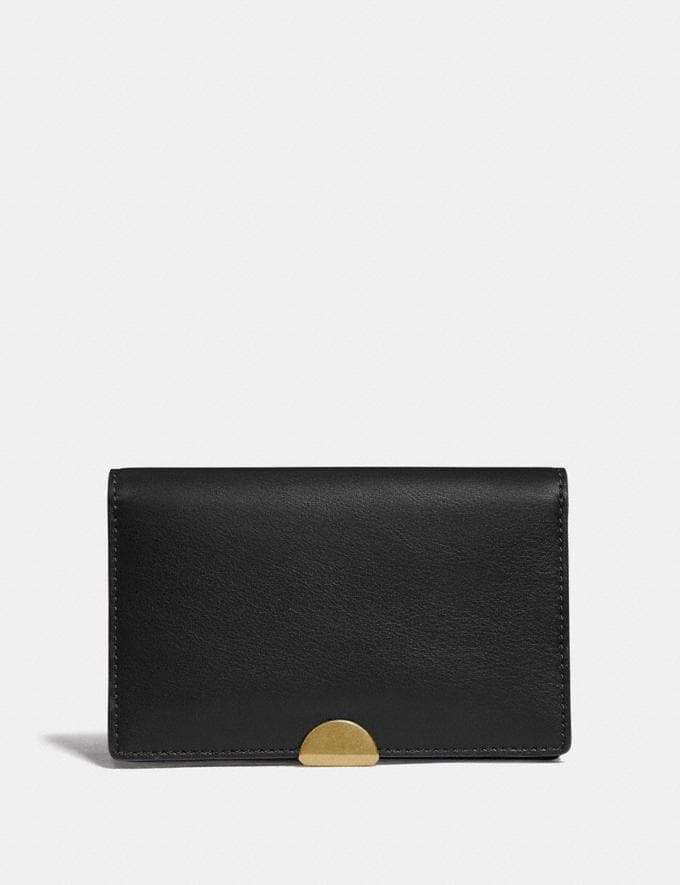Coach Dreamer Card Case Black/Brass Women Small Leather Goods Card Cases
