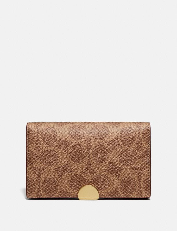 Coach Dreamer Card Case in Colorblock Signature Canvas Tan/Rust/Brass Women Collection Dreamer