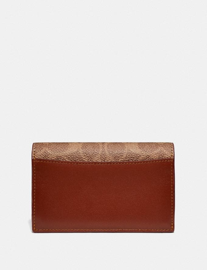 Coach Dreamer Card Case in Colorblock Signature Canvas Tan/Rust/Brass Women Collection Dreamer Alternate View 1
