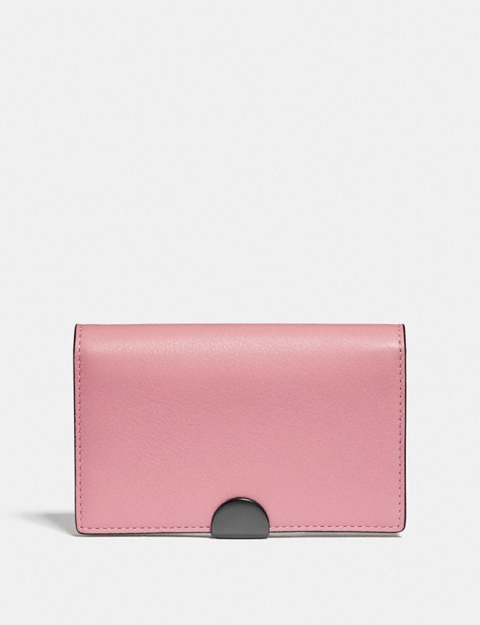 Coach Dreamer Card Case in Colorblock True Pink Multi/Pewter Women Small Leather Goods Card Cases