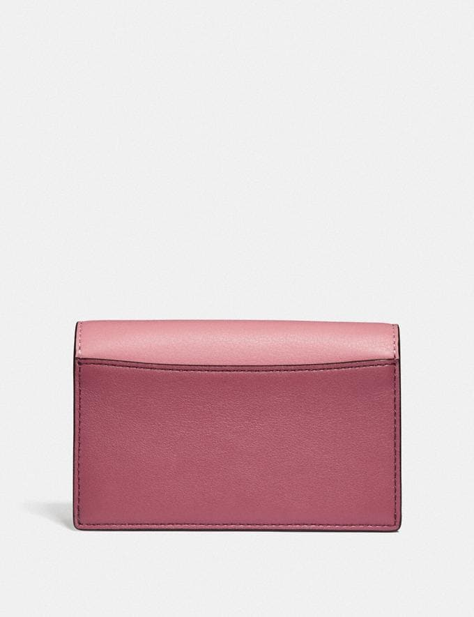 Coach Dreamer Card Case in Colorblock True Pink Multi/Pewter Women Small Leather Goods Card Cases Alternate View 1