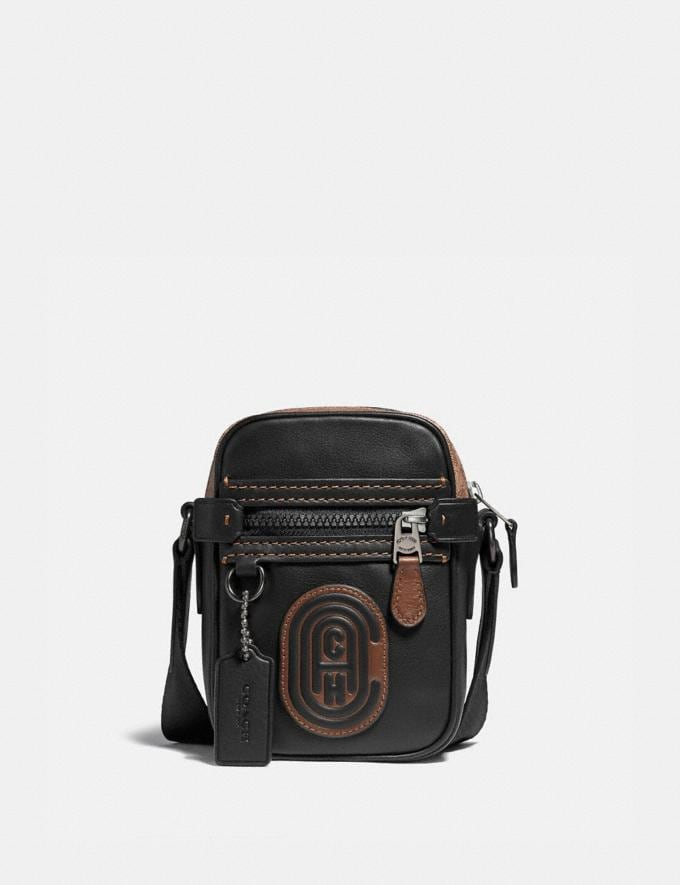 Coach Dylan 10 With Signature Canvas Blocking and Coach Patch Black/Khaki/Black Copper Men Bags Messenger & Crossbody