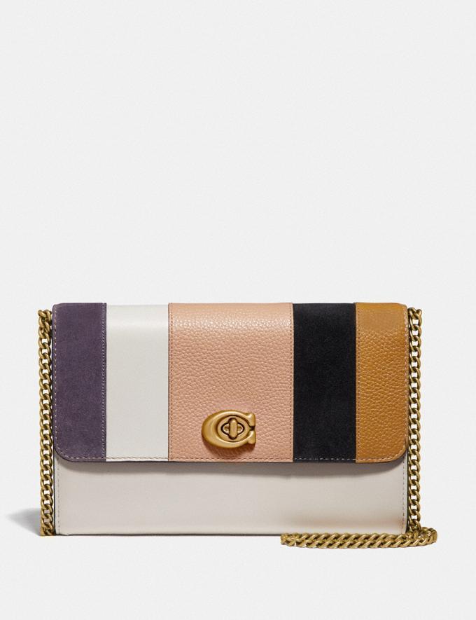 Coach Marlow Turnlock Chain Crossbody With Patchwork Stripes Brass/Beechwood Multi SALE Women's Sale Bags